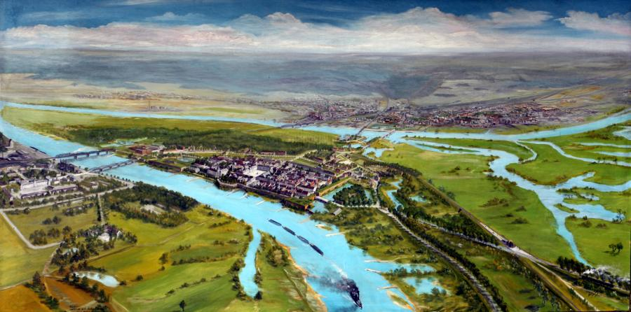 Panorama von Küstrin - ein Gemälde von Norbert Streich (1960), © Tourist-Information Kostrzyn, Repr. Tomasz Kulik