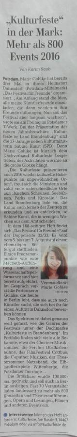 Märkische Allgemeine 27./28.02.2016
