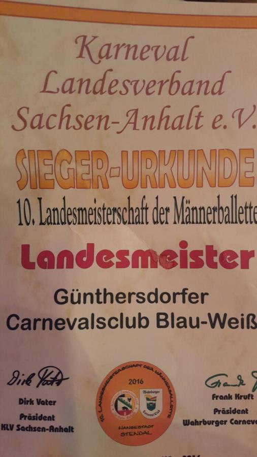 Männerballett Günthersdorf - Landesmeister 2016