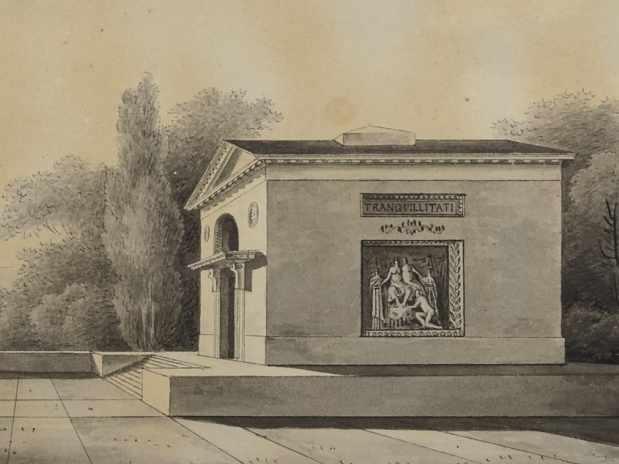 Schinkels Entwurf zu einem Mausoleum, 1799 (Ausschnitt) © Museum Neuruppin