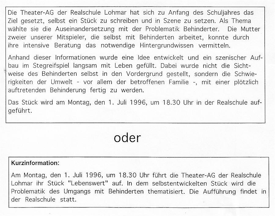 """Informationen zum Theaterstück """"Lebenswert"""""""