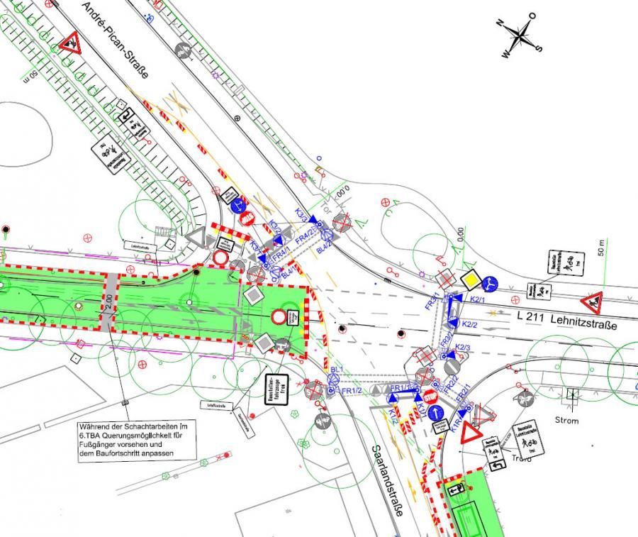 Lehnitzstraße, 5. und letzter Bauabschnitt: Verkehrssituation im Kreuzungsbereich