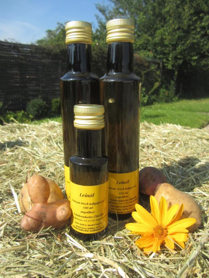 Leinöl - kleine und große Flasche