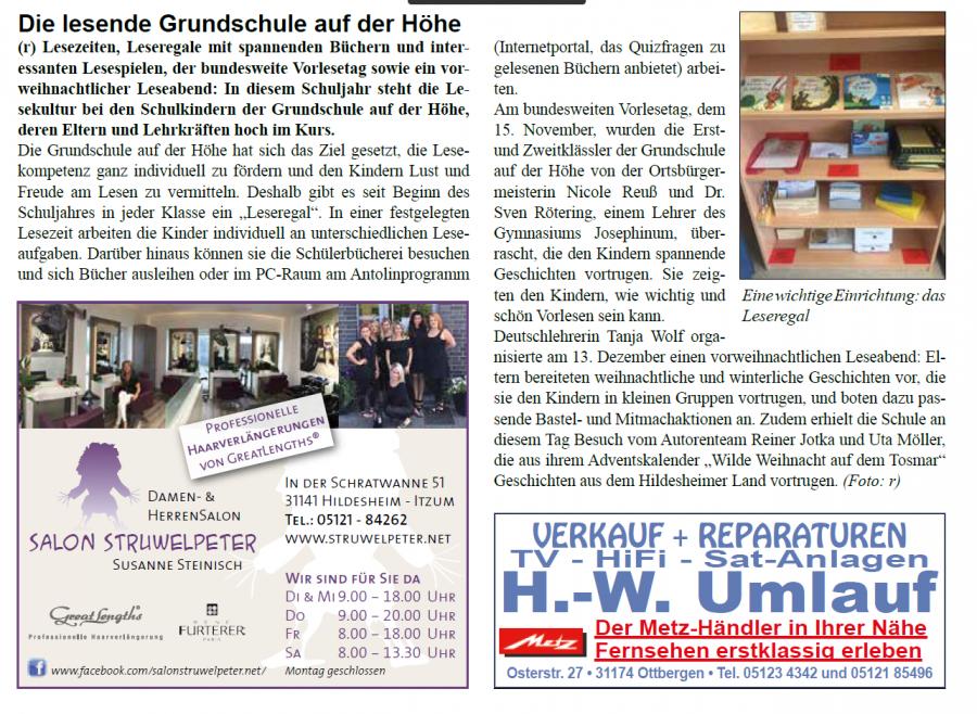 Die lesende Grundschule Artikel Stadtteilzeitung Februar 2018
