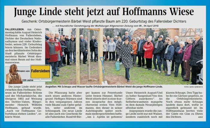 Bericht vom Linde pflanzen zum 220.Geburtstag von Hoffmann