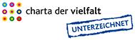 Externer Link zur Charta der Vielfalt; Maintal hat sie unterzeichnet; Bild zeigt das Logo, welches aus vielen bunten Punkten und Kreisen besteht