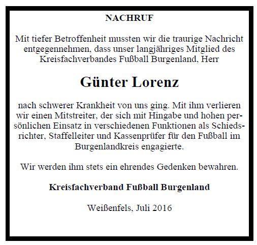 Nachruf Günter Lorenz