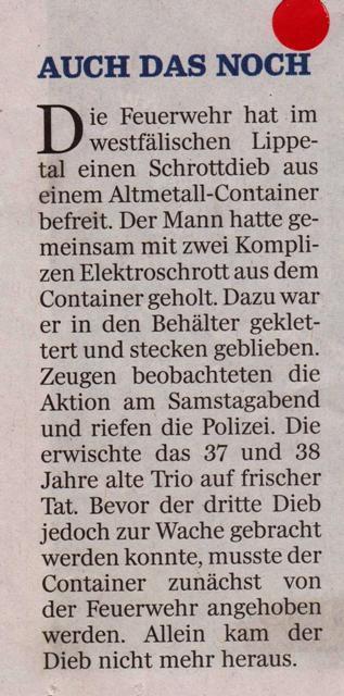 LT 2015.08.03 Dieb im Altmetall-Container