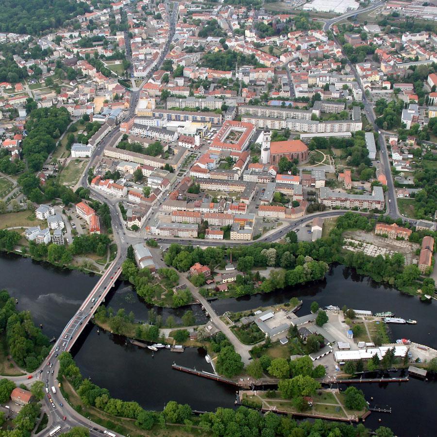 Blick nach Norden auf die Fürstenwalder Innenstadt