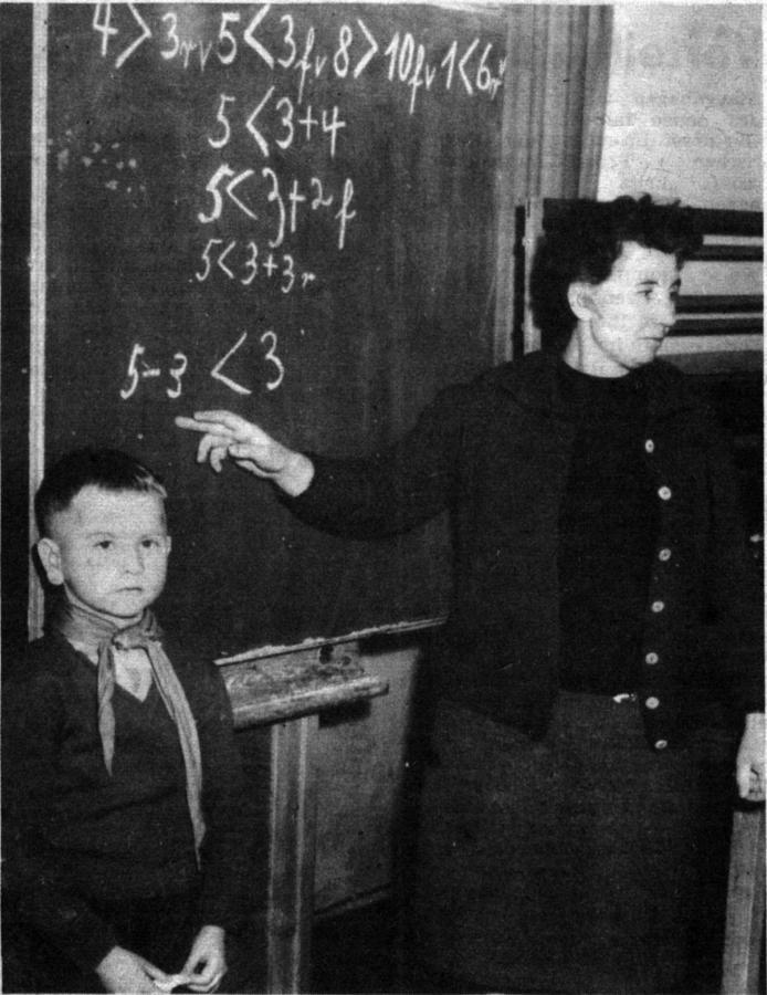Mathematikunterricht in der ersten Klasse bei Frau Derkow