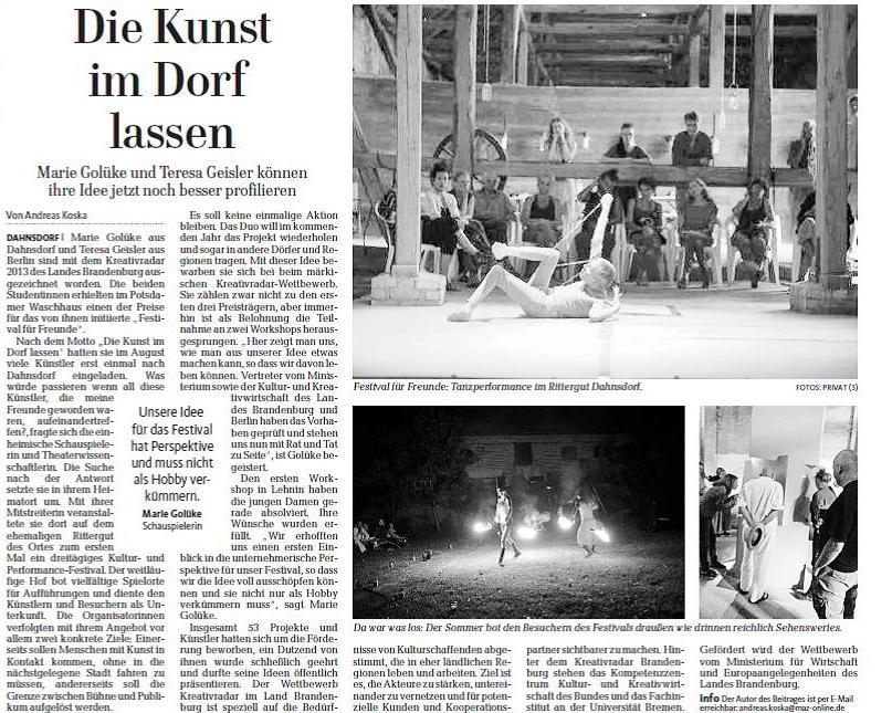 Märkische Allgemeine 4.12.2013