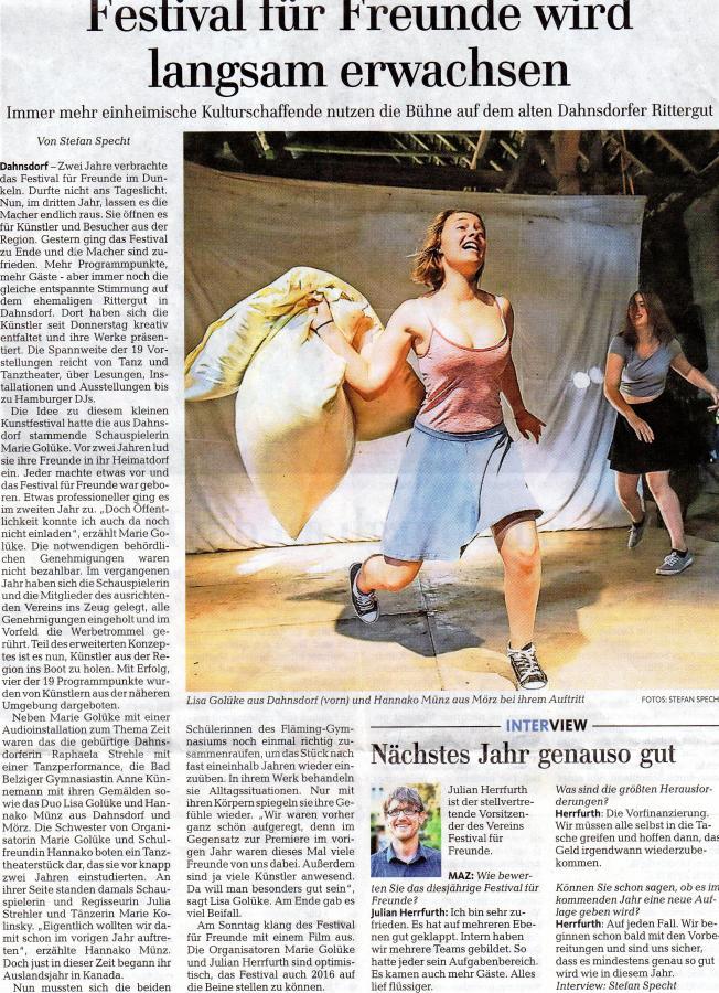 Märkische Allgemeine 10.08.2015