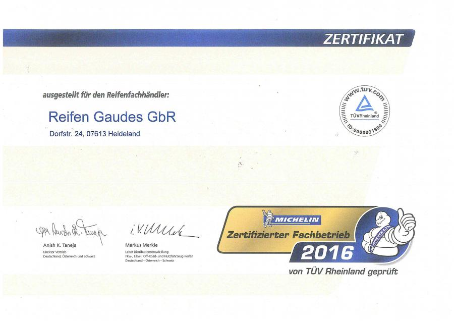 Michelin Zertifizierter Fachbetrieb 2016