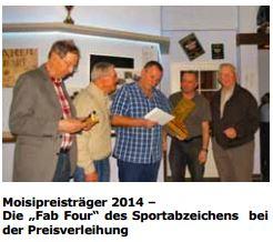 Die Preisträger Gebhard Müller-König, Hans Cohrs, Rainer Oelke und Gerhard Schimkat