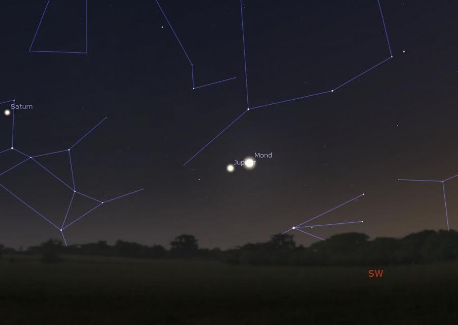 Mond begegnet Jupiter am 03.10.2019