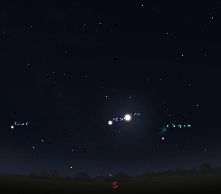 Mond begegnet Jupiter am 23.04.2019