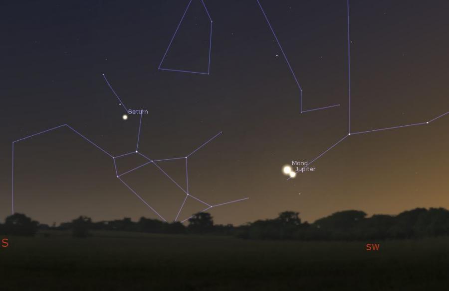 Mond begegnet Jupiter am 31.10.2019