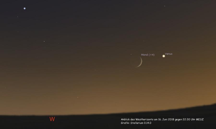 Mond begegnet Venus am 16.06.2018