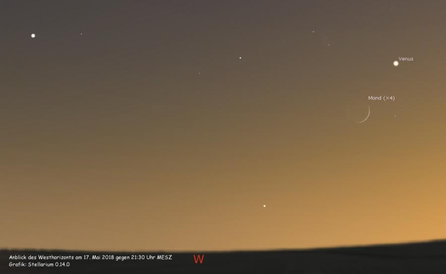 Mond begegnet Venus am 17.05.2018