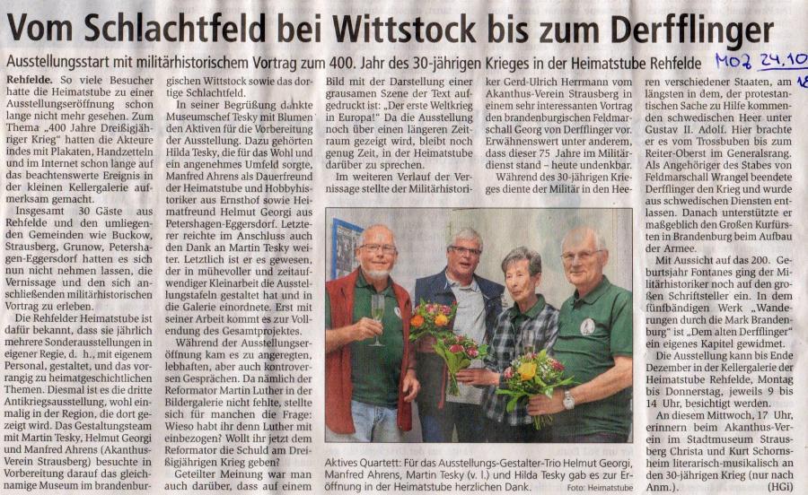 Vom Schlachtfeld bis Derfflinger MOZ 24.10.2018