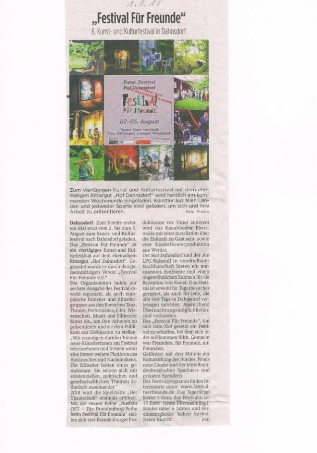 Pressemitteilung aus dem Fläming Echo, 01.08.2018