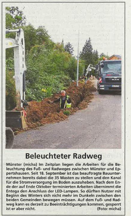 Bauarbeiten am Radweg Müsnter-Eppertshausen
