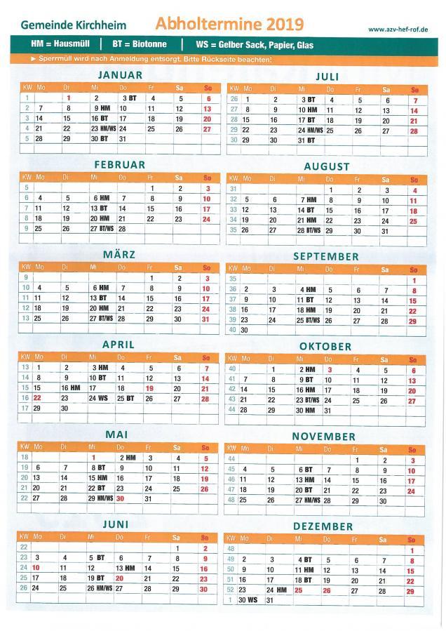 Müllkalender 2019