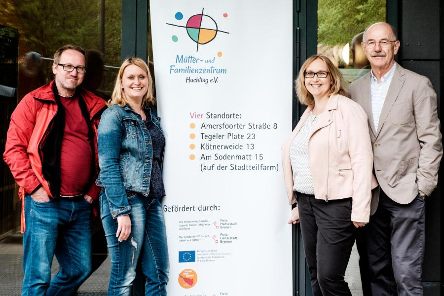 Unser Vorstand: (von links nach rechts) Michael Horn, Carina Radha Kishun, Silvana Wegener, Lutz Dirks