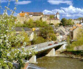 Muldenbrücke mit Schlossansicht der Stadt Colditz