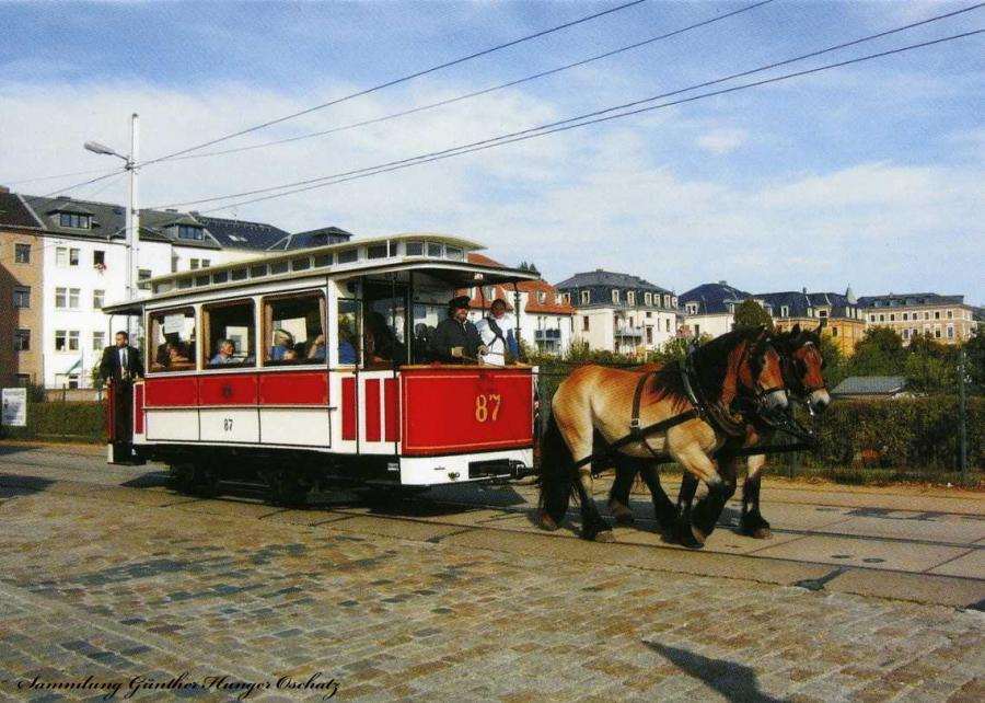 Museumsbeiwagen 87 als Pferdestraßenbahn