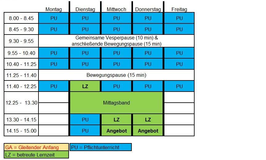 Musterstundenplan Klasse 3 und 4 2016-2017