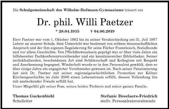 Dr. Willi Paetzer, ein Nachruf