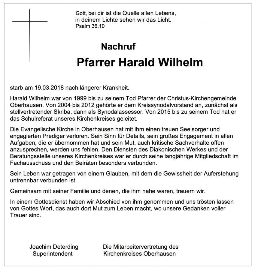 Anzeige zum Tod von Pfarrer Harald Wilhelm