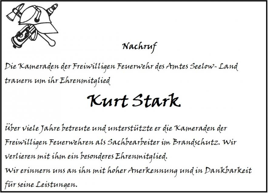 Nachruf Kurt Stark
