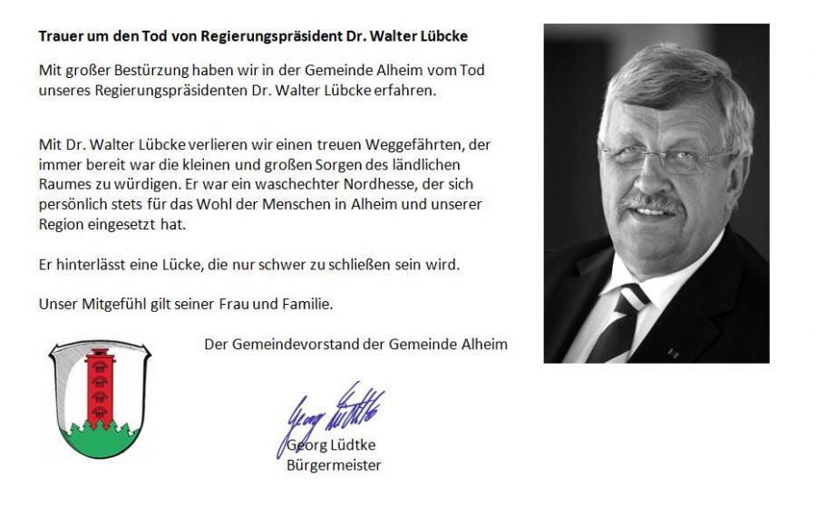 Nachruf Regierungspräsident Walter Lübcke
