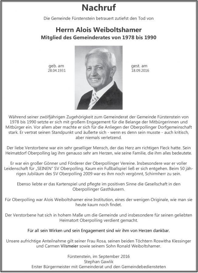 Nachruf Weiboltshamer Gemeindeblatt