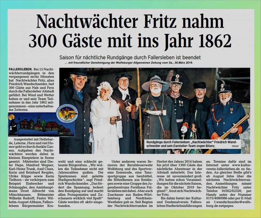 Bericht Nachtwächter Fritz Saison 2018/19