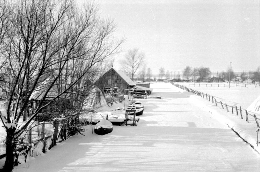 Blick von der Peenebrücke, um 1955
