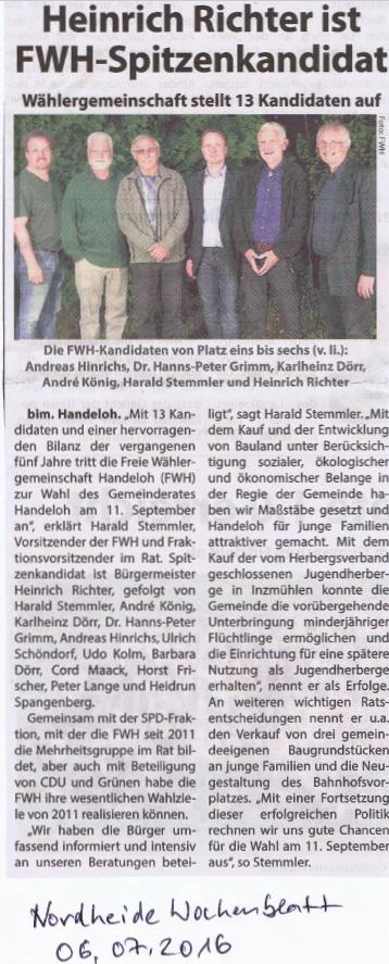 Bericht Wochenblatt 06.07.2016