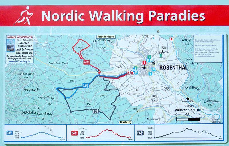 Übersichtskarte der Nordic-Walking Routen in den Burgwald
