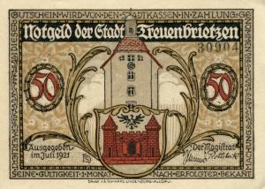Notgeldschein aus dem Jahr 1921: Die Vorderseite mit der Aufschrift:  Notgeld der Stadt Treuenbrietzen