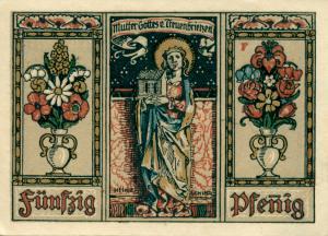 Notgeldschein aus dem Jahr 1921: F - Rückseite mit der Aufschrift: Mutter Gottes v. Treuenbrietzen