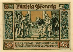 Notgeldschein aus dem Jahr 1921: D - Rückseite mit der Aufschrift:  Kurfürst Ludwig I.(Bayer) verleiht an die Treuenbrietzener Bürgerschaft Landbesitz