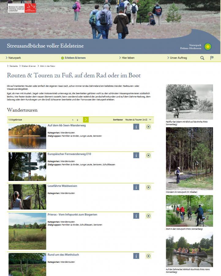 Routen und Touren auf der Website des Naturparks