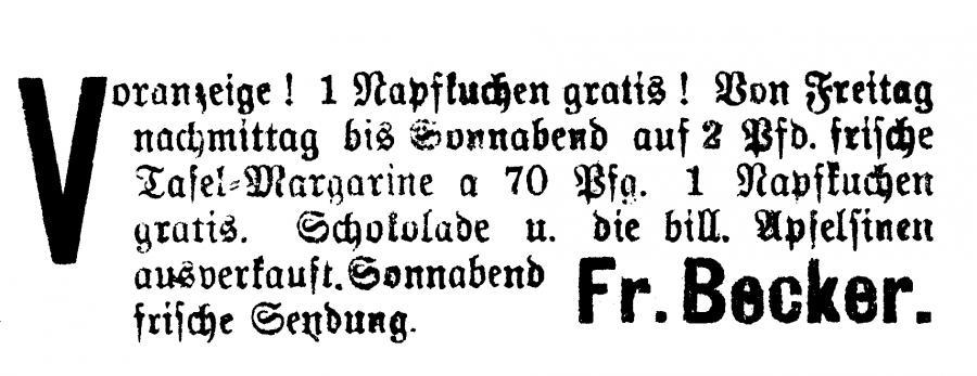 Annonce im Neukalener Tageblatt vom 13.2.1931