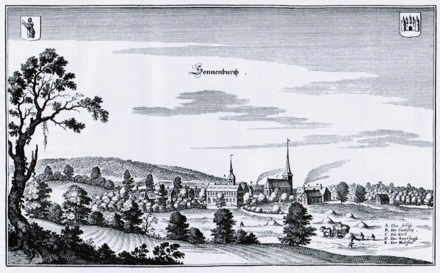 Ansicht von Sonnenburg vor der Zerstörung von 1639