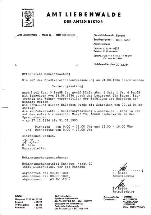 Öffentliche Bekanntmachung der Sanierungssatzung am 20.12.1994