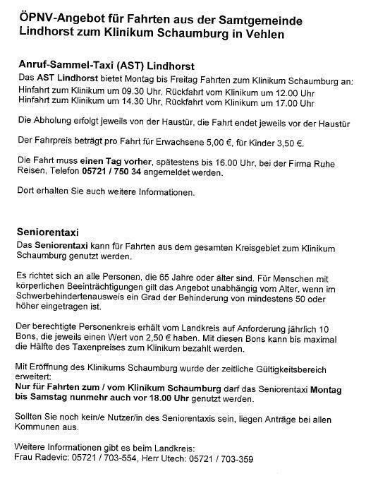 ÖPNV-Angebot zum Klinikum Schaumburg in Vehlen