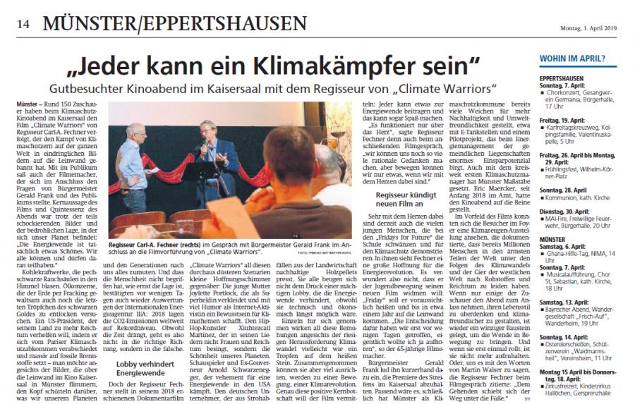 Jeder kann ein Klimakämpfer sein- Artikel vom Kinoevent am 27.03.2019 in der Offenbach-Post vom 01.04.2019