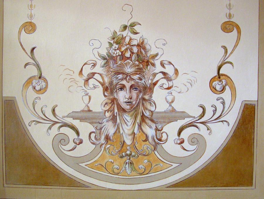 Deckenmalerei im Foyer - Allegorie des Frühlings, um 1880